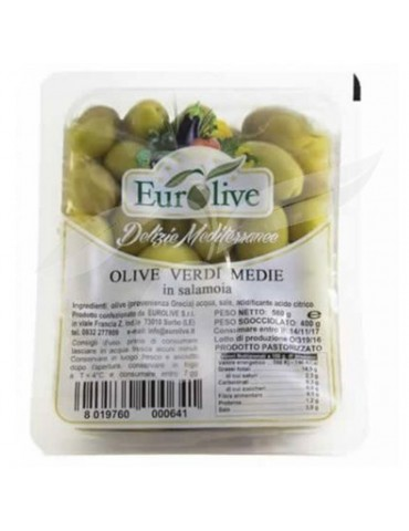 Olive verdi medie in salamoia gr 400 - Eurolive Eurolive 3,50€